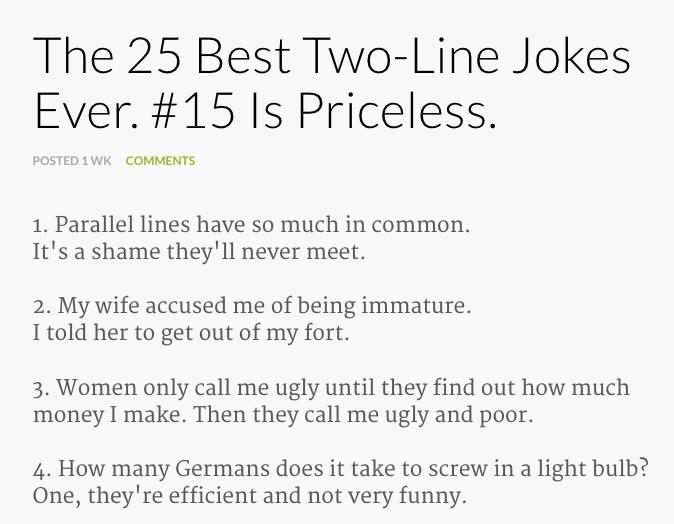 Jokes 1 line Clean Hilarious