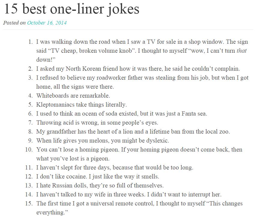 adult one liner jokes