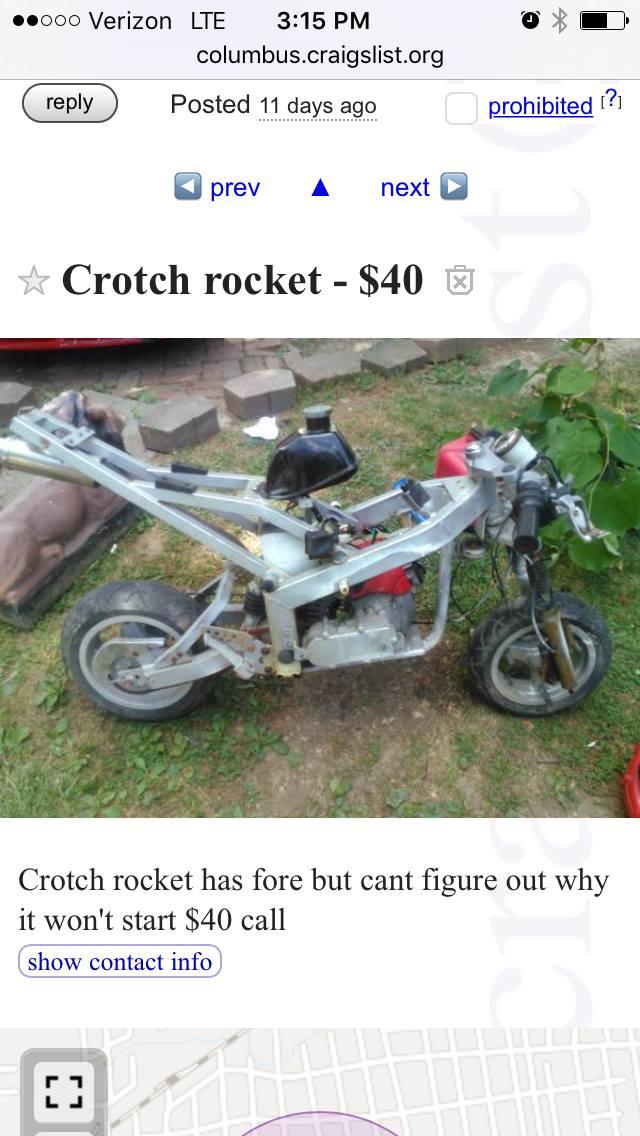 Crotch rocket jokes