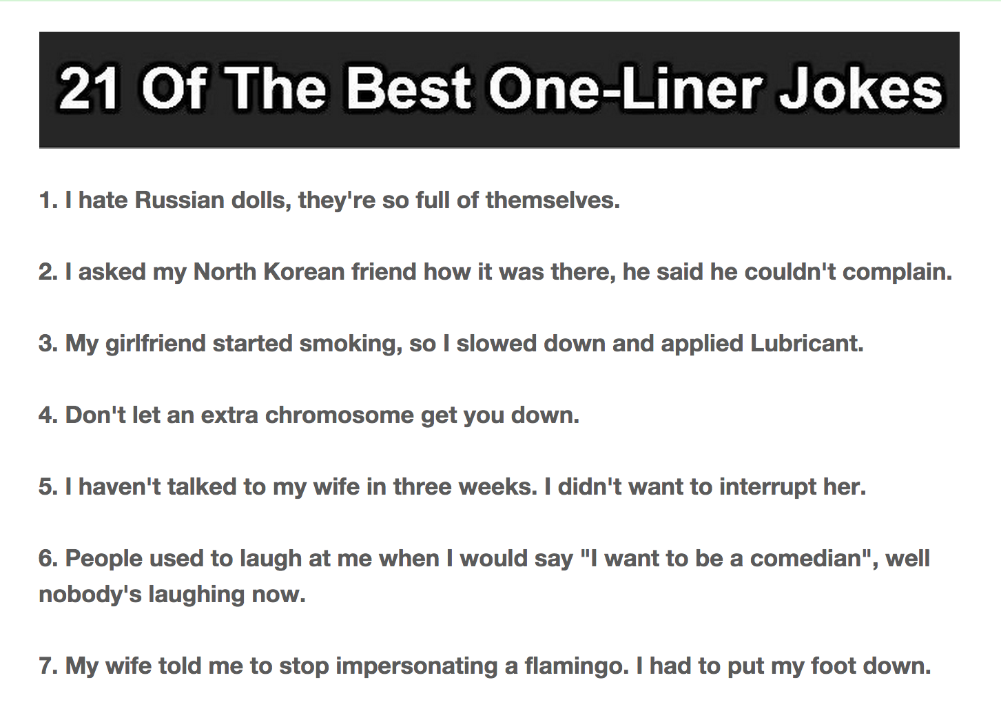 Humourous one liners