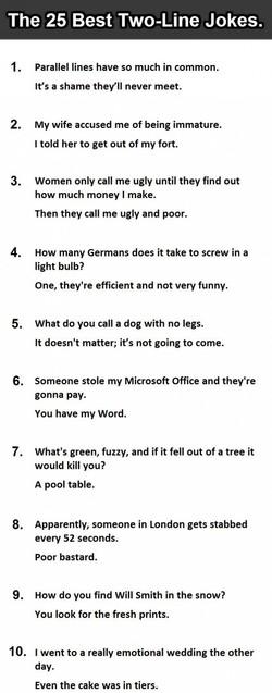 best funny one liner jokes